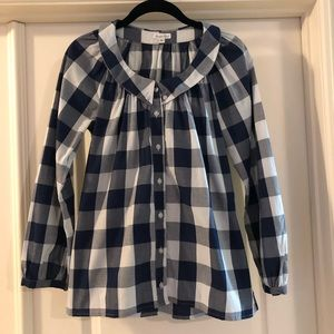 NWOT Steven Alan Navy & White Gingham Top